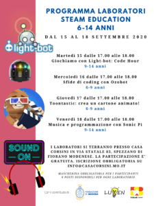 Programma laboratori STEAM Education FabLab Junior 6-14 anni @ Fiorano Modenese